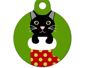 Pet ID Tag - Kitty in Christmas Stocking Pet Tag, Dog Tag, Cat Tag