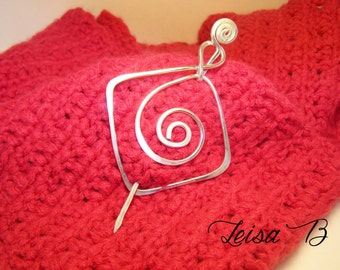 Scarf Fastener, Silver Pin, Swirl Brooch, Sweater Clasp, SP4