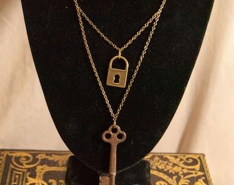 Lock and Skeleton Key Vintage Pendant