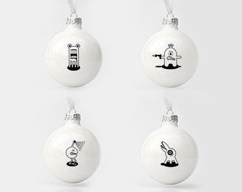 Conjunto de cuatro adornos de Navidad con monstruos divertidos, adornos de árbol de Navidad