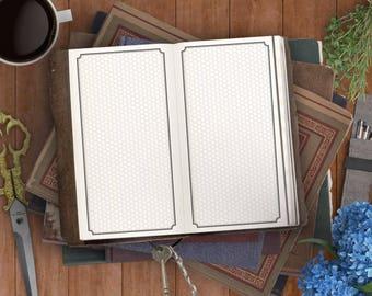 Framed Hex Grid Printable Insert - Hex Grid Insert - Midori Insert and Planner Insert - Gaming Insert, Traveler's Notebook, Personal Planner