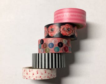 Washi tape 5 pack 5 yards each Pink Black Mix