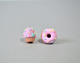 Pink donut and cupcake earrings - Miniature food earrings - Cute donut gifts - Mix and Match earrings - Doughnut earrings - Donut lover gift