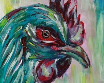 Original Oil Rooster Painting Framed