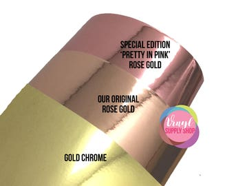 Rose Gold Chrome Mirrored Adhesive Vinyl for cutting machines to make car decals wine glasses wedding decor makeup cup indoor outdoor vinyl