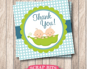 Instant Download . Printable Twin Boys Tags, Twin Peas in a Pod Thank You Tags, Twin Baby Shower  Tags