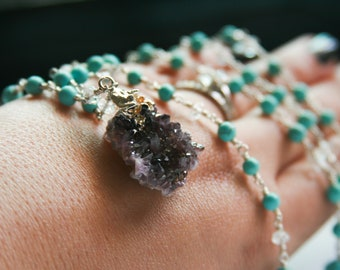 Amethyst Necklace with Magnesite and Aquamarine