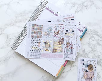 FOIL Celebrate in Style DELUXE Planner Sticker Kit (6 Sheets) - For Erin Condren Life Planner, Foiled Weekly Kit, Foil Stickers, Birthday