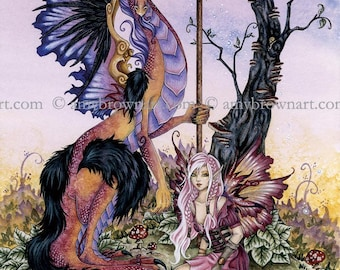 5x7 Gathering at Dawn dragon and fairy PRINT by Amy Brown