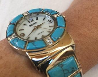 Turquoise silver gemstone bangle bracelet watch
