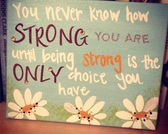 Strength Daisy Canvas - Blue