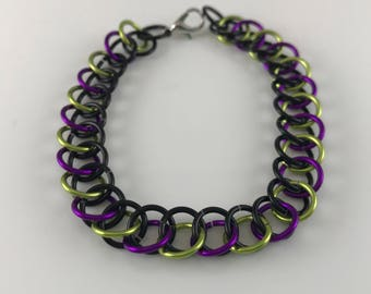 Sale 25% off Black Green and Purple Half Persian Chainmaille Bracelet