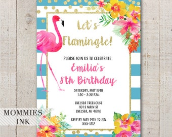 Flamingo Birthday Invitation, Tropical Invitation, Bridal Shower Invitation, Lets Flamingle Invitation, Flamingo Party, Birthday Invite