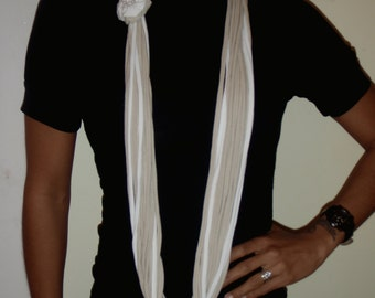 Cotton Knit Infinity scarf -  Beige and white