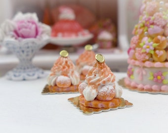 Pink 'Biscuit de Reims' St Honoré - Miniature French Pastry in 12th Scale