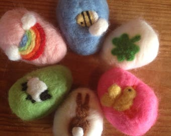 Custom Easter Eggs Needle felted wool decorated egg handmade Waldorf Spring tree pretty gift basket pastel soft toy cute sheep rabbit chick