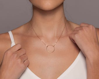 Large Gold Suspended Ring Necklace I Suspended Circle Necklace I Gold Karma I Karma Necklace I Large Circle Necklace I Circle Outline