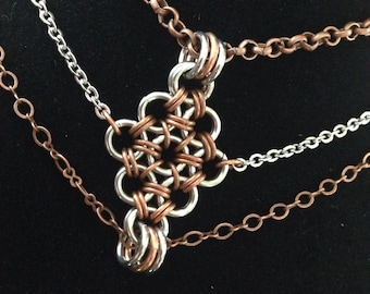 Choker Necklace - Stainless Steel and Copper - Chainmaille