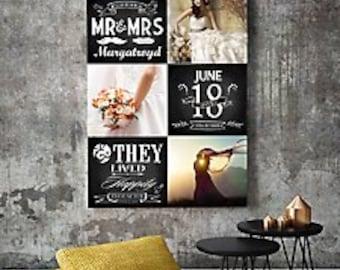 Chalk board wedding photo montage acnvas