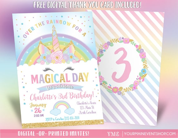 Unicorn Invitation, Unicorn Party Invite, Rainbow Invitation, Magical Invitation, Unicorn Face Birthday Invite Printable