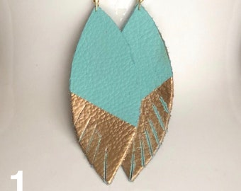 Leather Earrings Teal & Gold