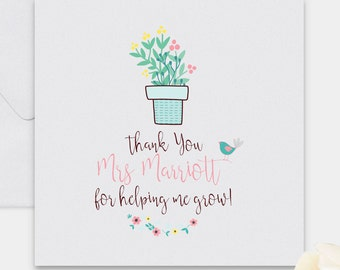 Thank you teacher card, thank you card, personalised card, personalised teacher card, card for teacher, teacher thank you, teacher gift