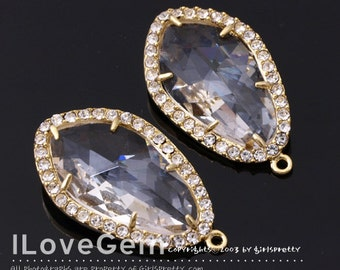 NP-1487 Gold plated, Clear, Glass, Pendant, 2pcs