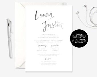 Black and White Invitation, Watercolor Invitation, Watercolor Wedding, Digital Wedding, Invitation Wedding, Rustic Wedding, Printable, PDF