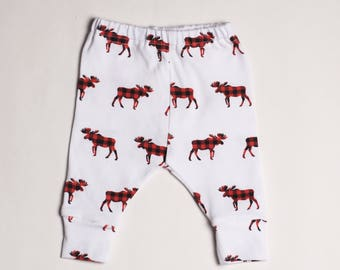 Buffalo Plaid Moose Toddler Leggings