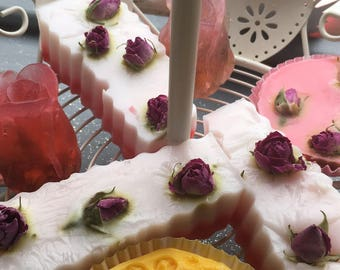 Long rose petal soap bar.