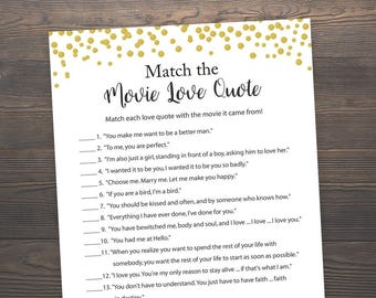 Gold Bridal Shower Games, Movie Love Quote, Match the Romantic Movie Love Quotes, Bachelorette Party Games, Hens Night, Gold Dots, J001