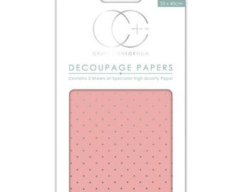 Paper patch (3 sheets) pink polka dot background, silver - CCDECP011