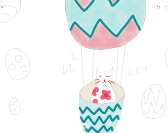 Easter Colour In - A sleepy floral cat in a hot air balloon