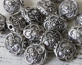 Mykonos Pewter Beads - 15mm Saucer Beads - Jewelry Making Supply - Made In Greece - Choose Amount