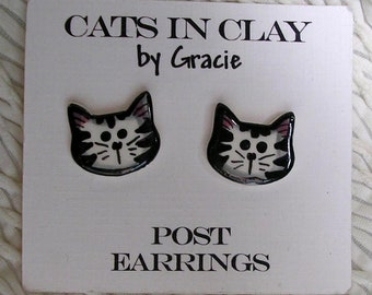Tiger Striped Cat Post Earrings Stud Earring Handmade In Kiln Fired Clay by Gracie