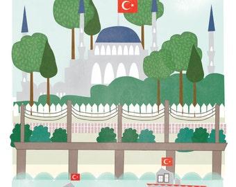 Istanbul Turkey art print illustration - 11x14 - city art poster Istanbul