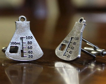Science Beaker Measurement Cufflinks Scientist Chemist