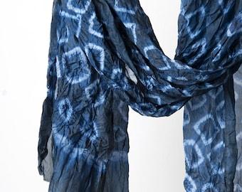 Shibori indigo Silk scarf, Hand dyed scarf, Japanese style scarf, indigo blue silk scarf, large silk scarf, Indigo Blue gift, Artesian scarf