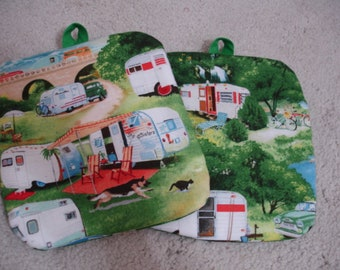 Set of 2 Cute RV/Camper print cotton Potholders