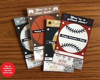 Sports Valentines - Instant Download - Digital Valentines - Kids Valentines - Football - Soccer - Baseball - Basketball - Valentine's Day