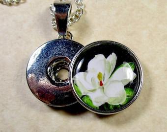 Magnolia Snap Charm, Magnolia Button Charm, Magnolia Jewelry, Magnolia Snap Jewelry, Magnolia Gifts, Magnolia Wedding, Magnolia Bridal