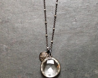 Pave Diamonds and Black Sterling Silver Necklace with Crystal Quartz Charms