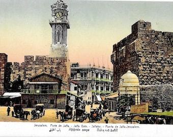 Jerusalem, Porte de Jaffa, Israel, circa 1918 Antique Unused Color Postcard.