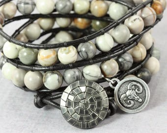 Zodiac Bracelet, Aries Charm Bracelet, Star Sign Jewelry, April Birthday, Jasper Wrap Bracelet, Astrological, Aries Jewelry, Aries Bracelet