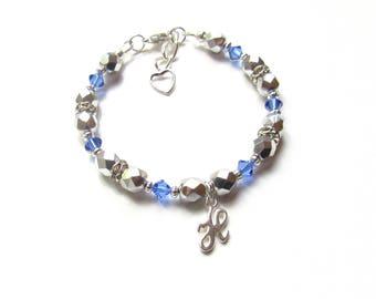 Girls Bracelet Personalized, September Birthstone Bracelet, Kids Jewelry Personalized, Initial Charm Bracelet, Sapphire Birthstone Bracelet