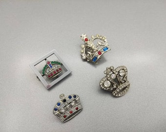 Royal Crown Brooches Rhinestones lot of 4 Unsigned Silver tone