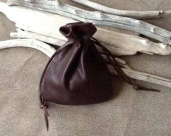 Leather Drawstring Pouch Bag - Dark Brown - Medium Size