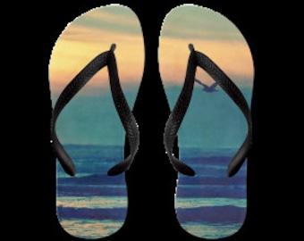 Summertime Flip Flops - Original Photograpy by RDelean Designs, blue, sky, sunshine, sea, ocean, bird, sunset