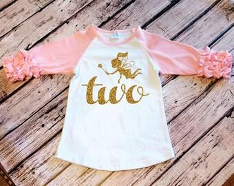 2nd Birthday Fairy Princess Shirt Baby Girl Birthday Party Cake Smash Outfit Birthday Shirt Gold Glitter Two Toddler Girl Birthday Glitter