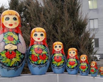 Nesting dolls OOAK Wooden toys Big  Matryoshka doll Babushka toys Ethnic Doll Original painting Ukraine matreshka Home Decor Gift for kids